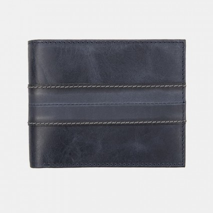 Genuine Real Leather Trifold Wallet Navy 3801