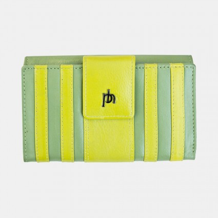 Primehide Rio Stripes Leather Purse Lime 5250
