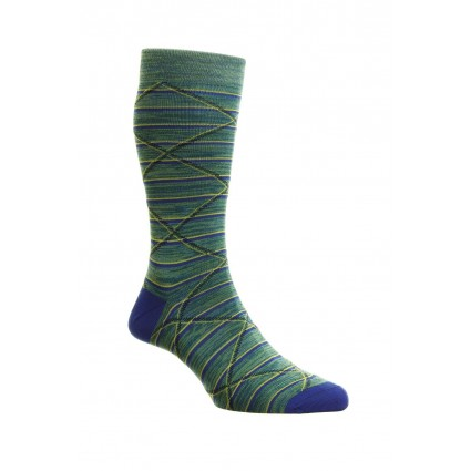Pantherella Mens Samana Cotton Lisle Socks Sea Moss