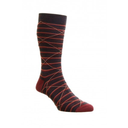 Pantherella Mens Samana Cotton Lisle Socks Beetroot