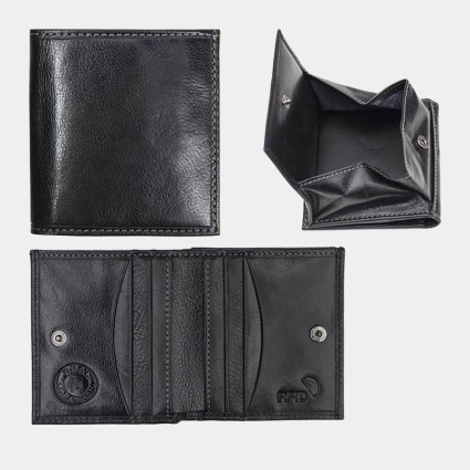 Genuine Real Leather Wallet Black 5603