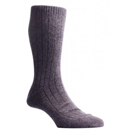 Cashmere Ribbed Waddington Socks Charcoal