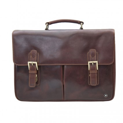 Primehide Leather Briefcase 8251 Brown