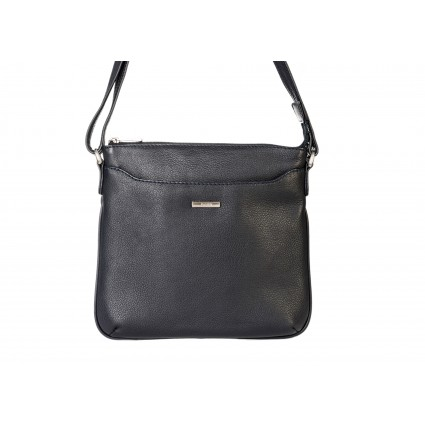 navy leather messenger cross body handbag