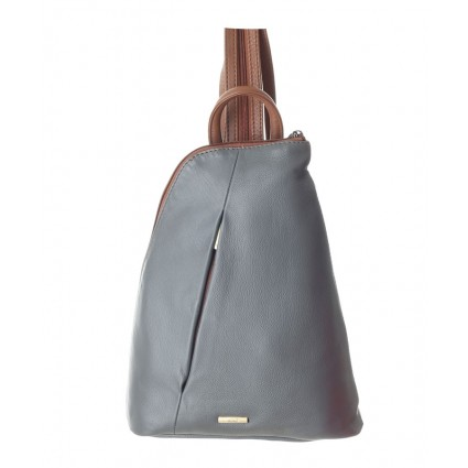 Nova 814 Leather Backpack Grey & Chetsnut