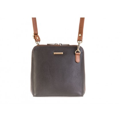 Nova 820 Leather Small Cross Body Handbag Black & Chestnut
