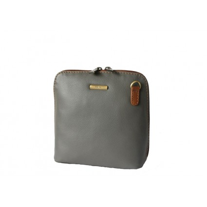 Nova 820 Leather Cross Body Handbag Grey & Chestnut
