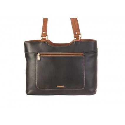 Nova 829c Leather Shoulder Handbag Black & Chestnut