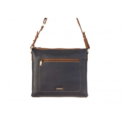 Nova 849 Leather Cross Body Handbag Navy & Chestnut