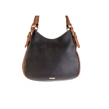 Nova 875 Leather Shoulder Handbag Black & Chestnut