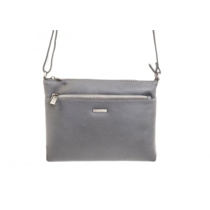 Nova 879 Leather Cross Body Handbag Grey