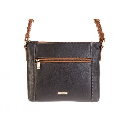 Nova 882 Leather Cross Body Handbag Black & Chestnut