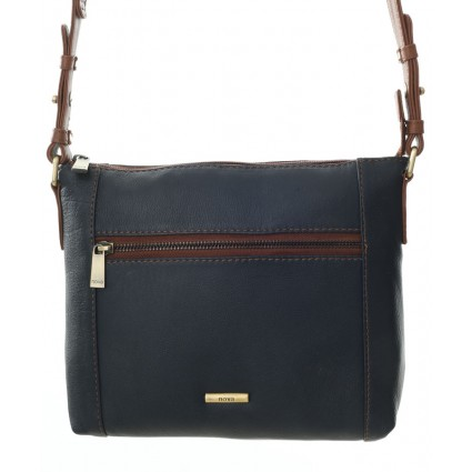 Nova 882 Leather Cross Body Handbag Navy & Chestnut