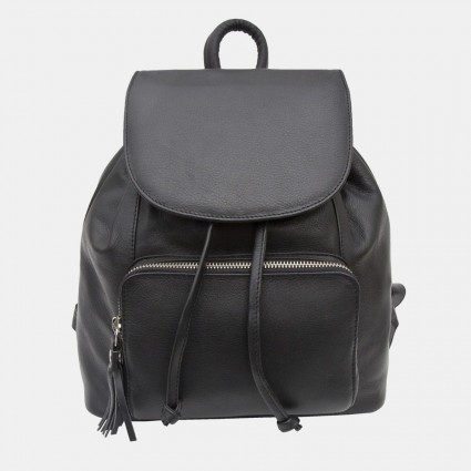 Primehide Leather Backpack in Black 914