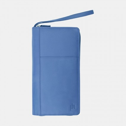 Primehide Leather Travel Wallet Blue 9300