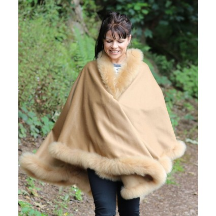 Baby Alpaca Ruana Cape With Fur Trim Camel