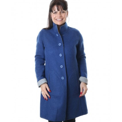 Alpaca & Merino Reversible Long Coat Blue & Grey
