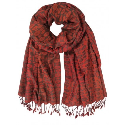 Hand Woven Silk Scarf Red Floral