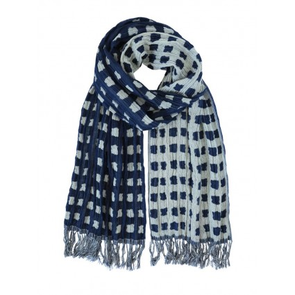 Hand Woven Silk Scarf Abstract Patches Navy