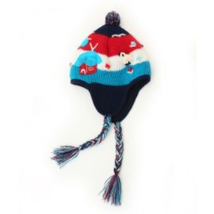 Childrens Peruvian Handmade Chullo Navy