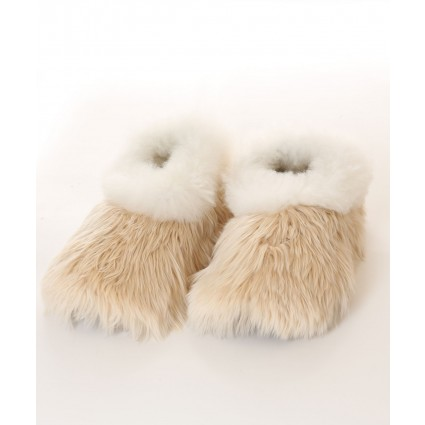 Alpaca Furry Slippers Adult Champagne