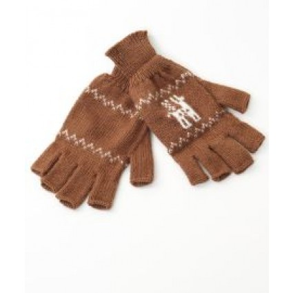 Alpaca Fingerless Gloves Motif Tan