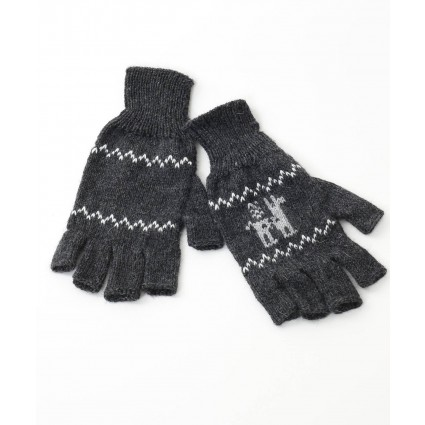 alpaca fingerless gloves motif charcoal