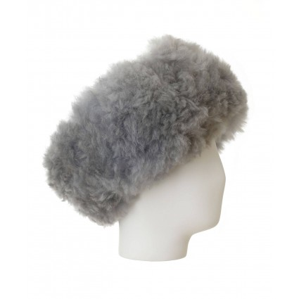 Alpaca Fur Headband Grey