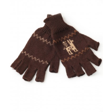 alpaca fingerless gloves motif brown