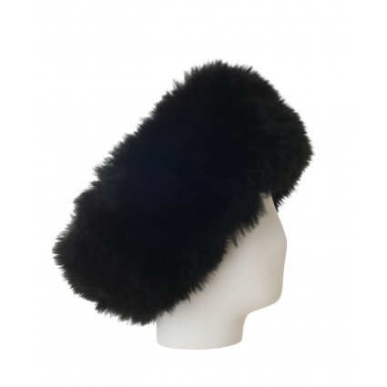 alpaca fur headband black