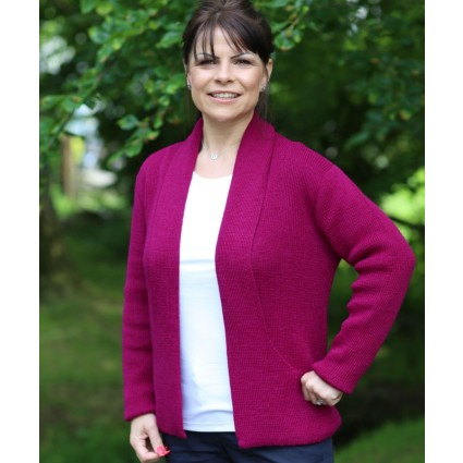 Alpaca Megan Edge To Edge Cardigan Berry