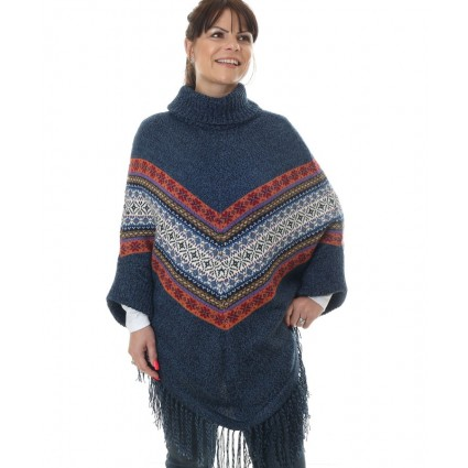 Alpaca Turtle Neck Poncho Denim Blue