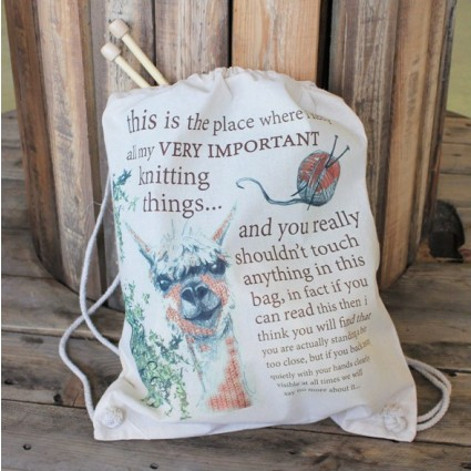 Organic Cotton Knitting Bag Alpaca