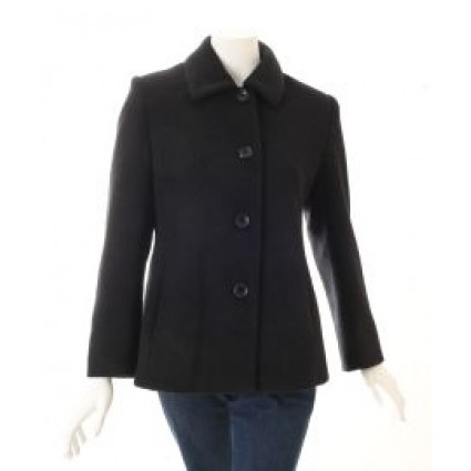 Alpaca & Wool Boiled Classic Coat Black