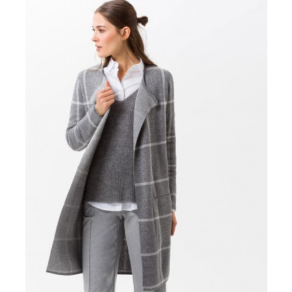 Brax Amanda Checked Long Cardigan Grey