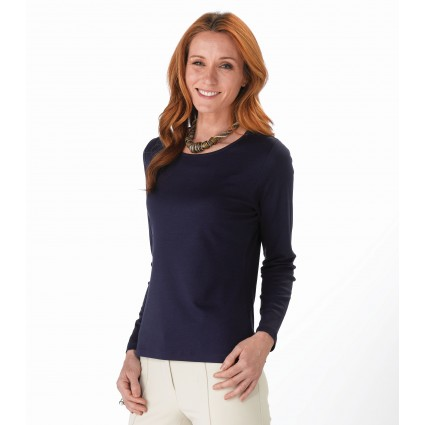 Artisan Route Patricia Pima Cotton Top Deep Navy