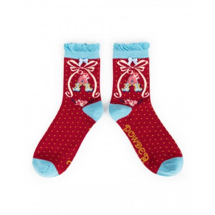 Powder Bamboo Alphabet Socks A