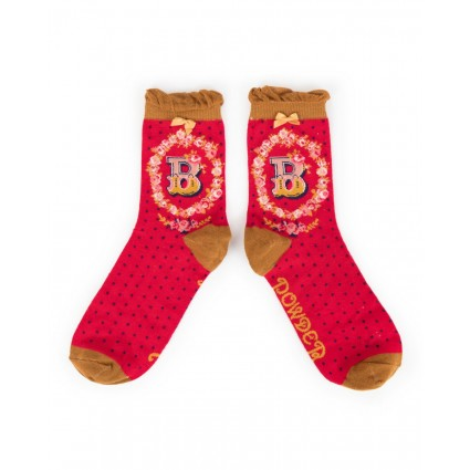 Powder Bamboo Alphabet Socks B