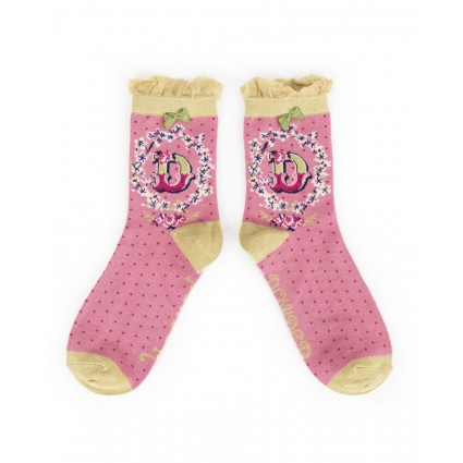 Powder Bamboo Alphabet Socks D