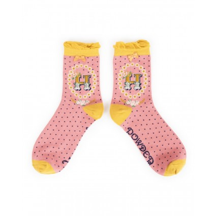 Powder Bamboo Alphabet Socks H