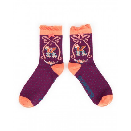 Powder Bamboo Alphabet Socks K
