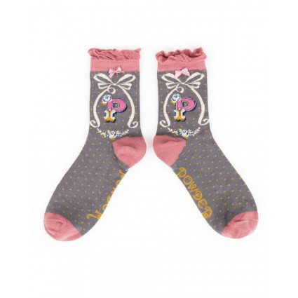 Powder Bamboo Alphabet Socks P