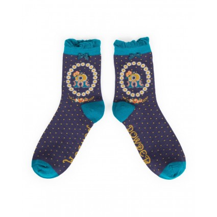 Powder Bamboo Alphabet Socks R