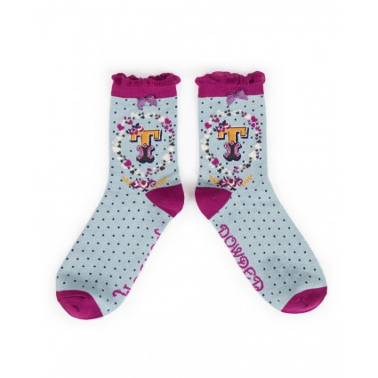 Powder Bamboo Alphabet Socks T
