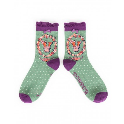 Powder Bamboo Alphabet Socks V