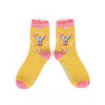 Powder Bamboo Alphabet Socks Y