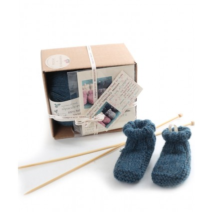 Alpaca Baby Slippers Knitting Kit Teal Blue