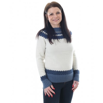 Alpaca Baltic Jumper Natural & Blue
