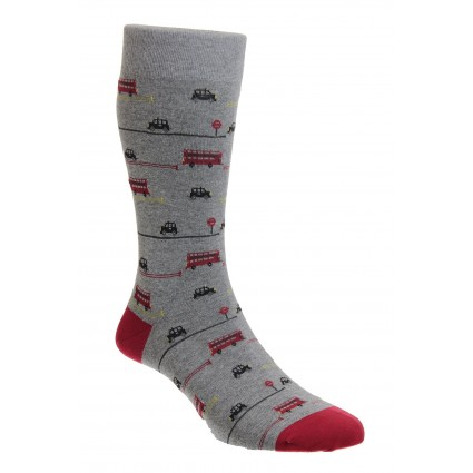 Pantherella Bayswater London Bus Socks Grey