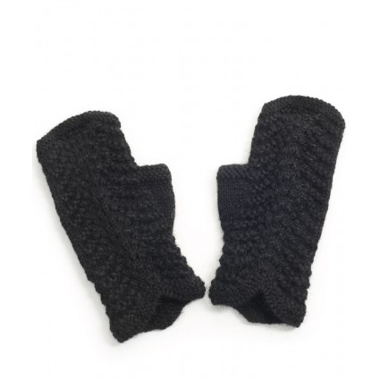 Alpaca Scallop Edge Fingerless Gloves Black